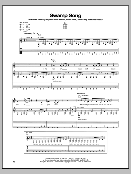 Tablature guitare Swamp Song de Tool - Tablature Guitare