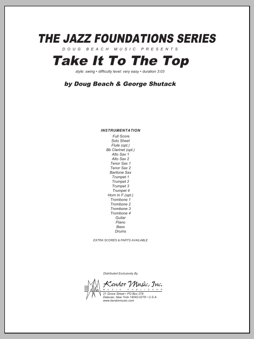 Take It To The Top (COMPLETE) sheet music for jazz band by Beach, Shutack