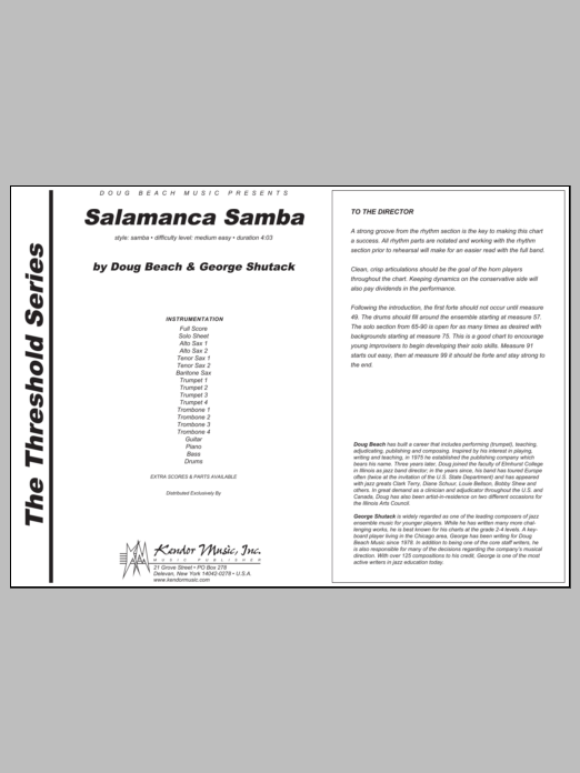 Salamanca Samba (COMPLETE) sheet music for jazz band by Beach, Shutack