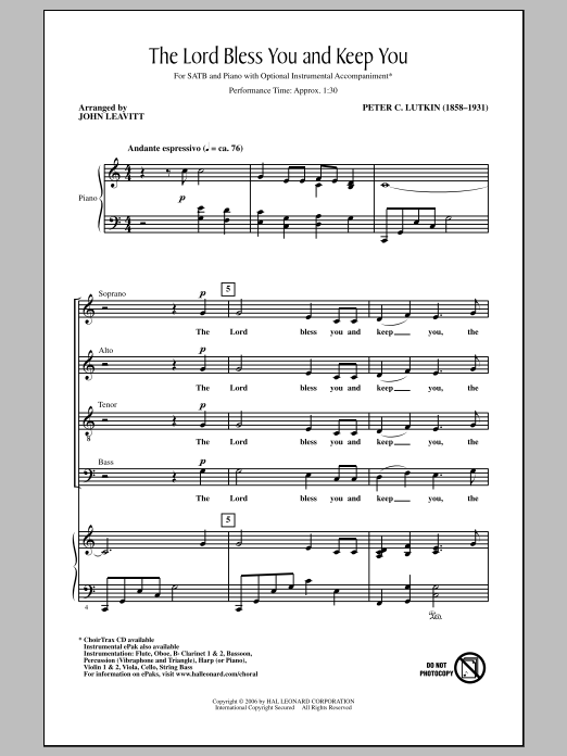 Partition chorale Lord Bless You And Keep You de Peter C. Lutkin - SATB