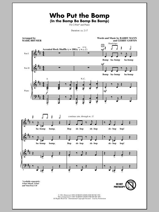 Partition chorale Who Put The Bomp (In The Bomp Ba Bomp Ba Bomp) de Barry Mann - 2 voix