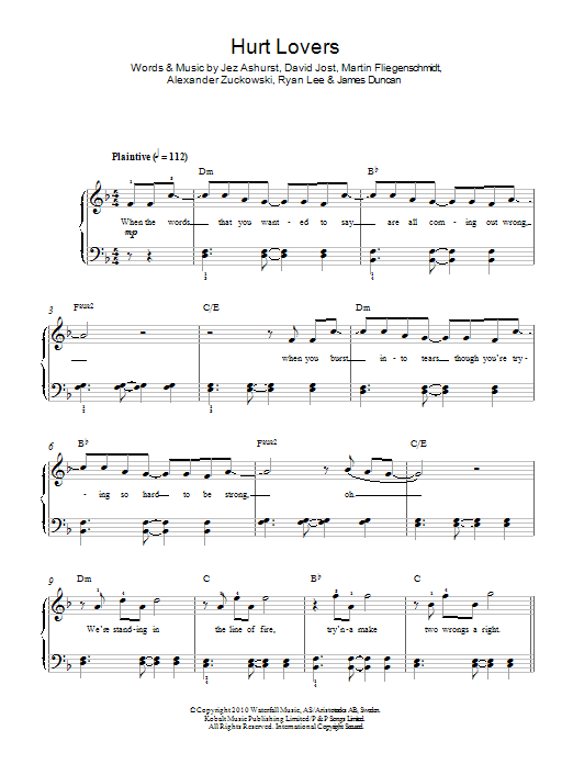 Hurt Lovers sheet music for piano solo (chords) by Alexander Zuckowski