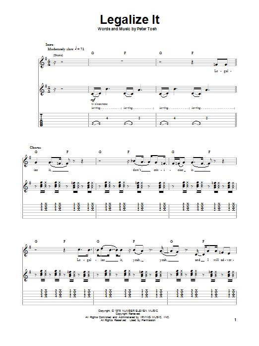 Legalize It sheet music for guitar solo (tablature, play-along) by Peter Tosh