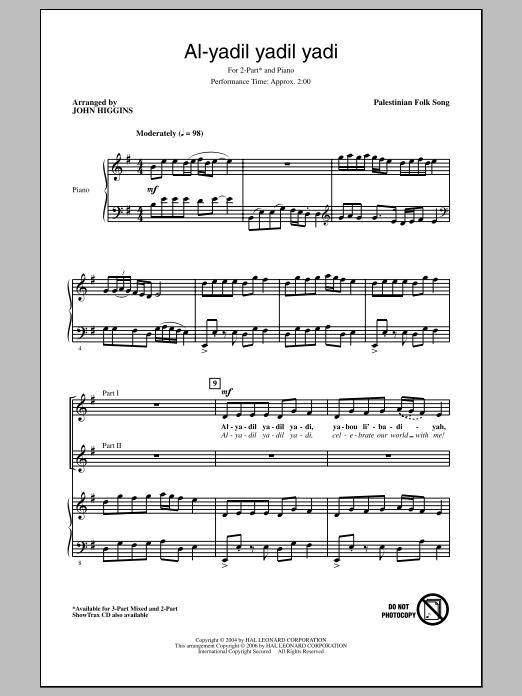 Partition chorale Al-Yadil Yadil Yadi de John Higgins - 2 voix