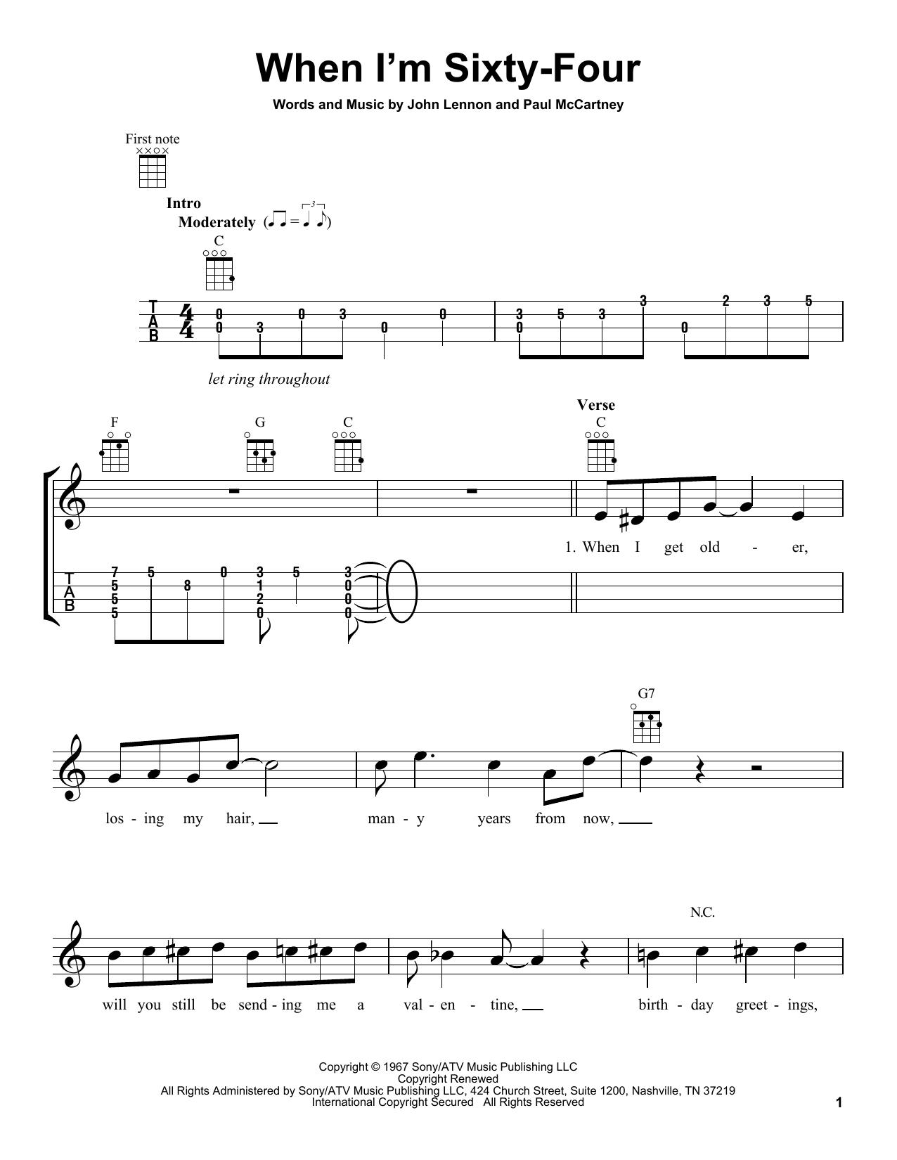 Tablature guitare When I'm Sixty-Four de The Beatles - Ukulele