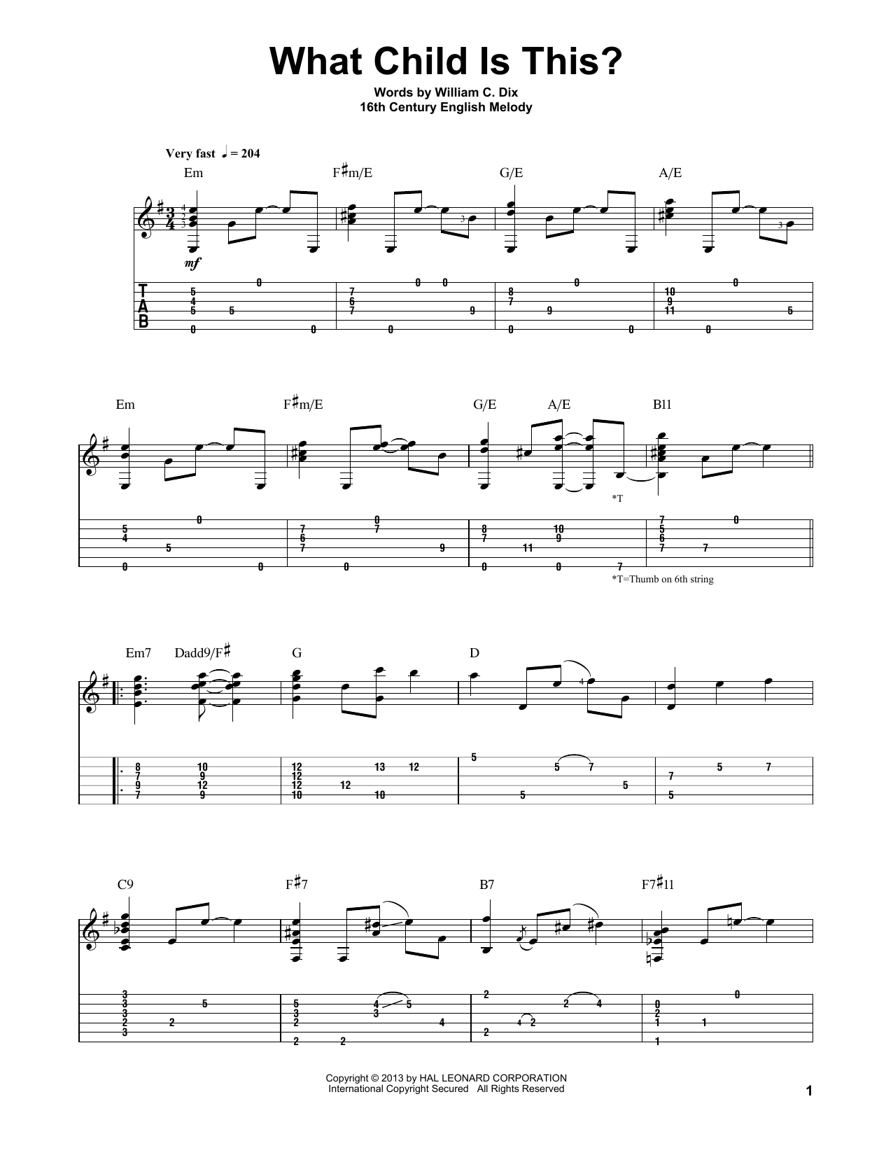 Jake Reichbart: What Child Is This? - Guitar Tab : Sheetmusicdirect.com