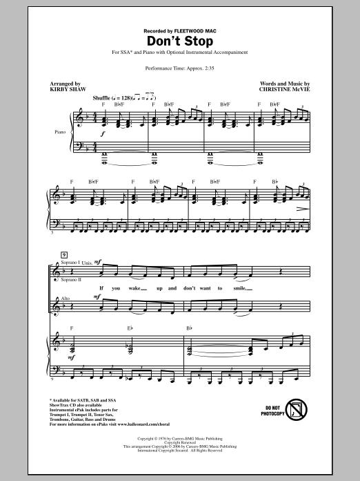 Don't Stop sheet music for choir and piano (SSA) by Kirby Shaw