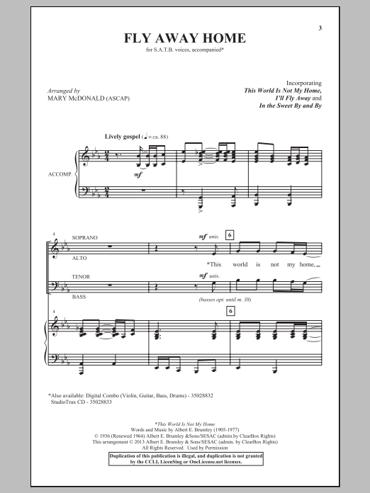 Partition chorale Fly Away Home de  - SATB