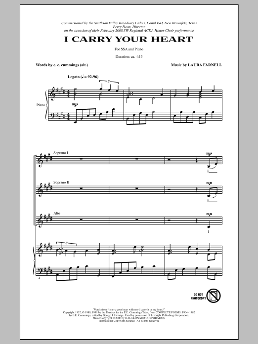I Carry Your Heart sheet music for choir and piano (SSA) by E.E. Cummings