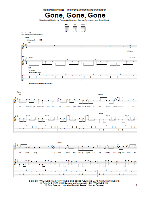 Tablature guitare Gone, Gone, Gone de Phillip Phillips - Tablature Guitare
