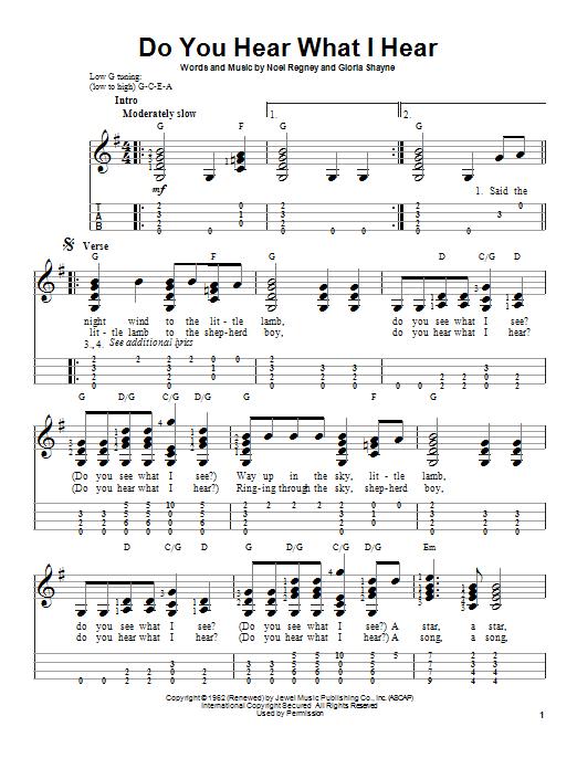 Tablature guitare Do You Hear What I Hear de Noel Regney - Ukulele