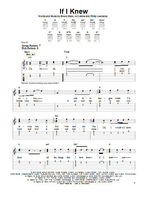 If I Knew sheet music for guitar solo (easy tablature) by Bruno Mars