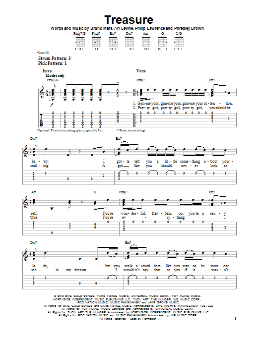 Treasure sheet music for guitar solo (easy tablature) by Bruno Mars