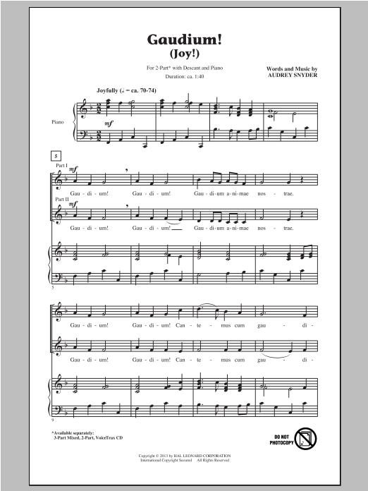 Partition chorale Gaudium! de Audrey Snyder - 2 voix