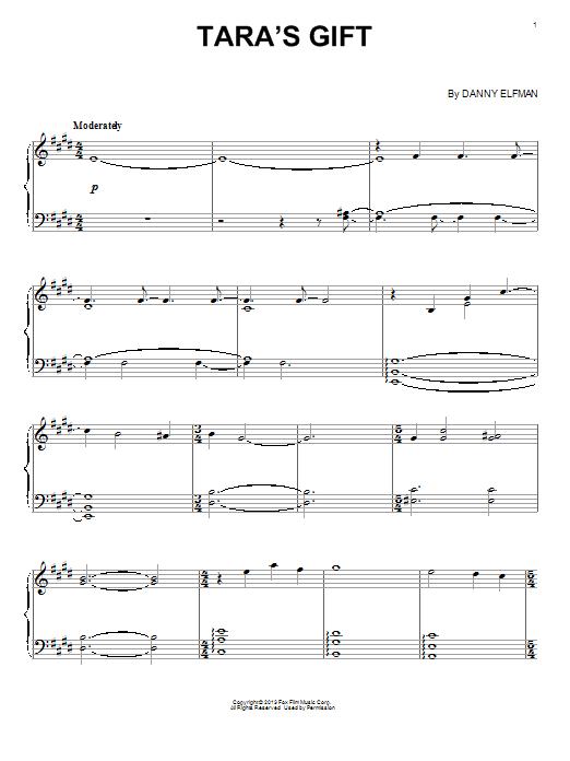 Partition piano Tara's Gift de Danny Elfman - Piano Solo