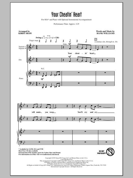 Your Cheatin' Heart sheet music for choir and piano (SSA) by Kirby Shaw