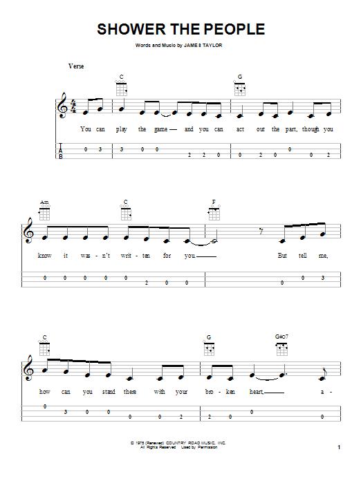 Tablature guitare Shower The People de James Taylor - Ukulele