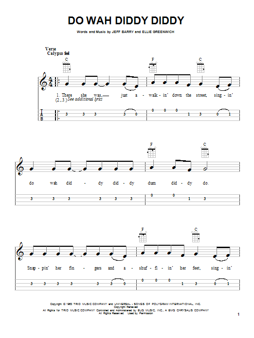 Tablature guitare Do Wah Diddy Diddy de Ellie Greenwich - Ukulele