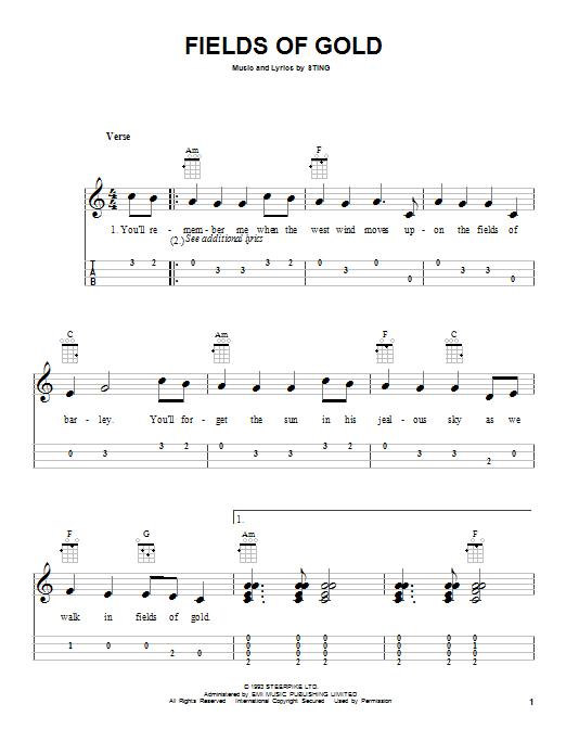 Tablature guitare Fields Of Gold de Sting - Ukulele