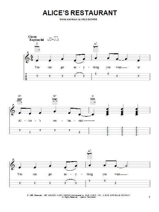 Tablature guitare Alice's Restaurant de Arlo Guthrie - Ukulele