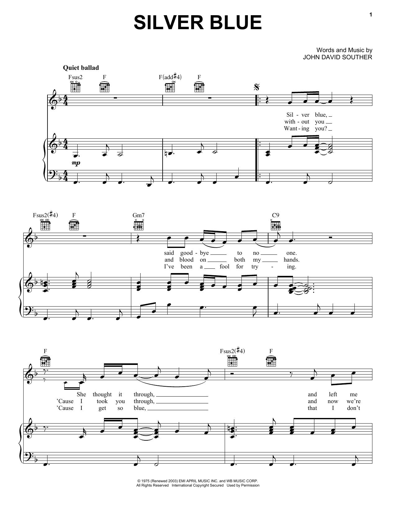Partition piano Silver Blue de J.D. Souther - Piano Voix Guitare (Mélodie Main Droite)