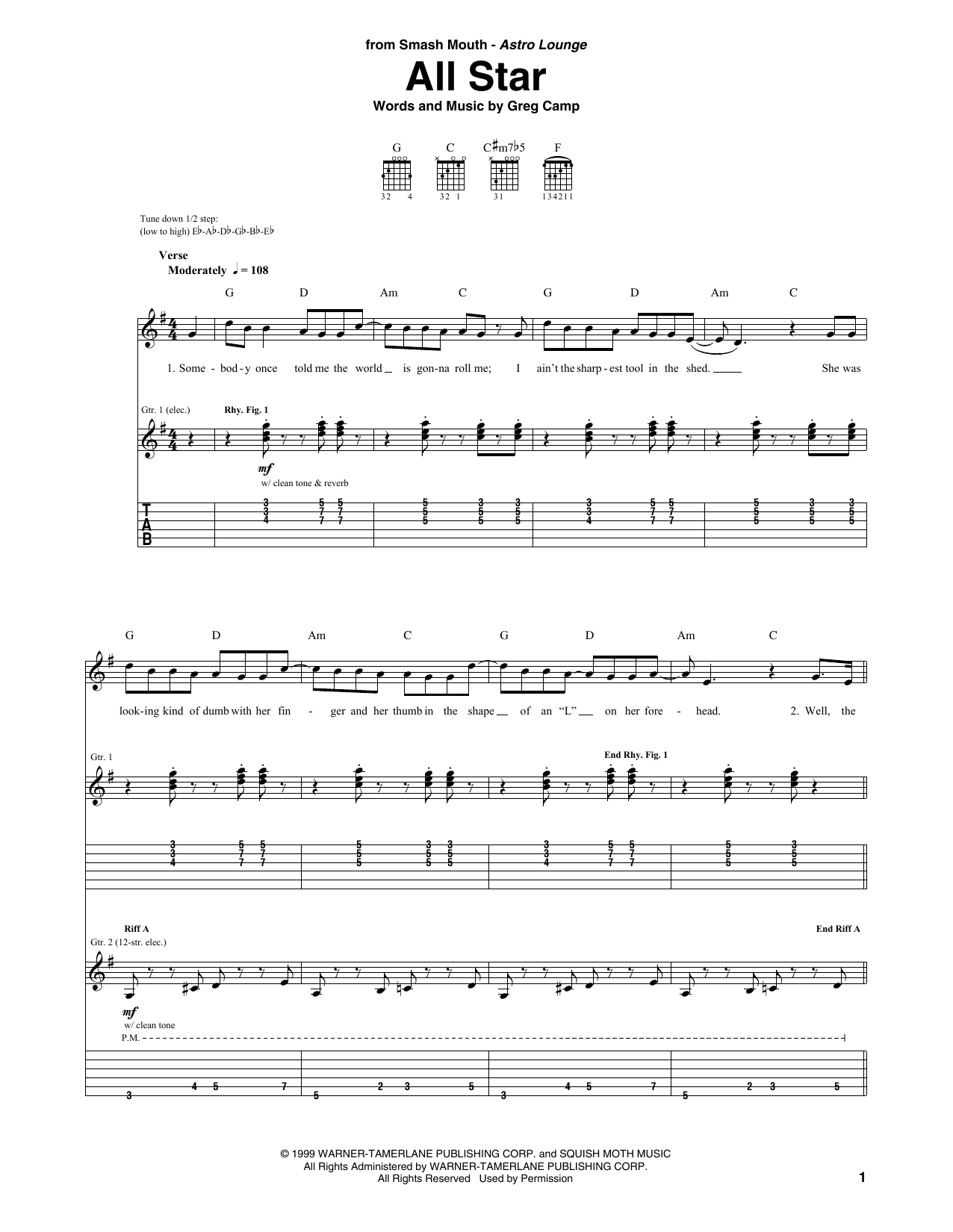 Sheet Music Digital Files To Print Licensed Smash Mouth Digital