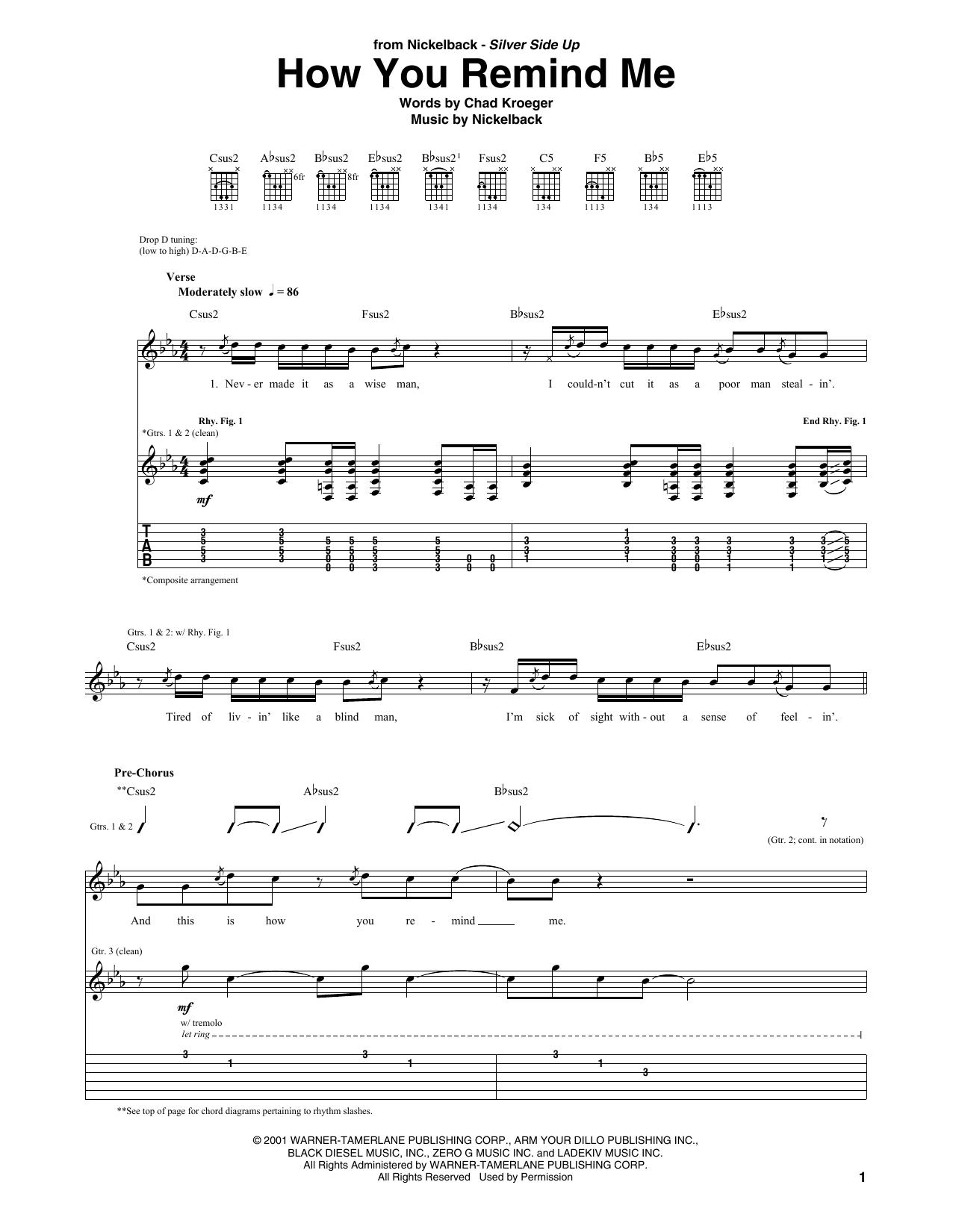 Tablature guitare How You Remind Me de Nickelback - Tablature Guitare