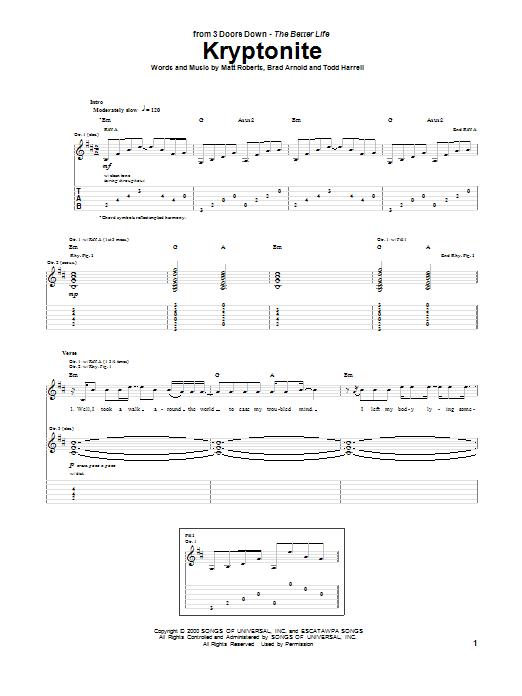 Guitar Instructor Kryptonite by 3 Doors Down - Guitar Tab