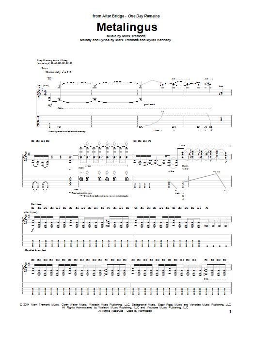 Tablature guitare Metalingus de Alter Bridge - Tablature Guitare