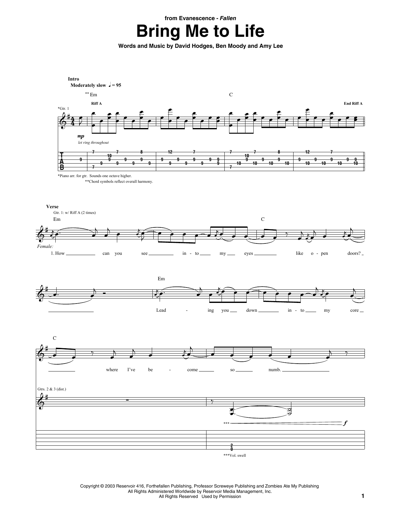 Tablature guitare Bring Me To Life de Evanescence - Tablature Guitare