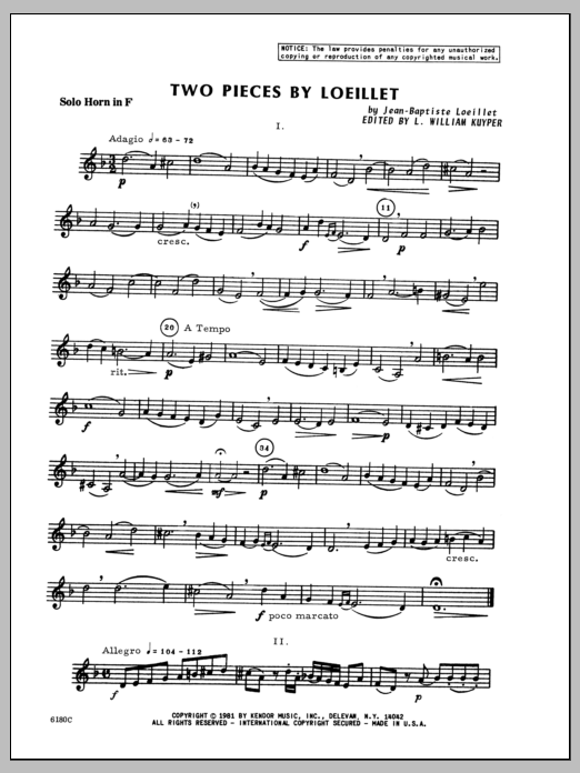 Two Pieces By Loeillet (complete set of parts) sheet music for horn and piano by Kuyper