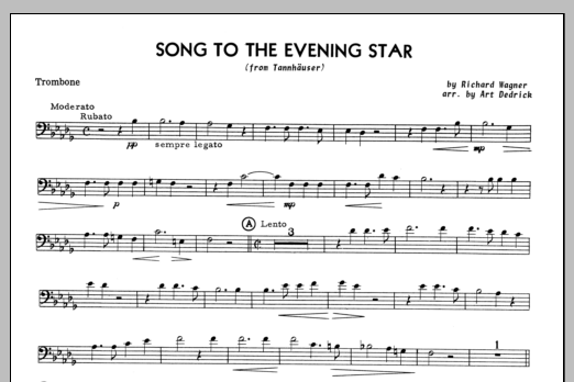 Song To The Evening Star (complete set of parts) sheet music for trombone and piano by Art Dedrick