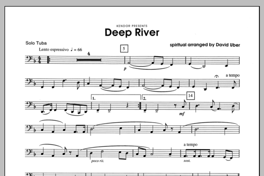 Deep River (complete set of parts) sheet music for tuba and piano by Uber