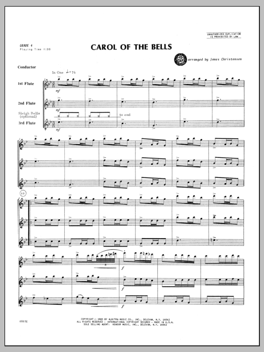 Carol of the Bells (COMPLETE) sheet music for flute trio by Christensen