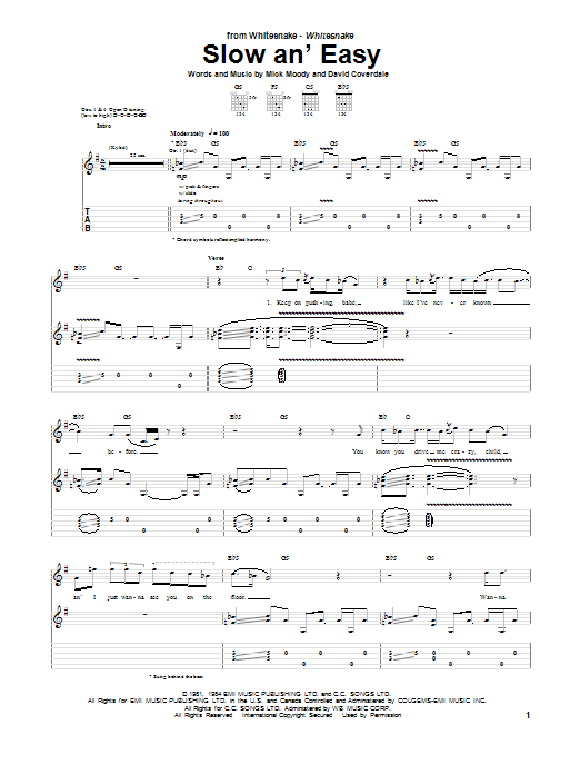 Tablature guitare Slow An' Easy de Whitesnake - Tablature Guitare