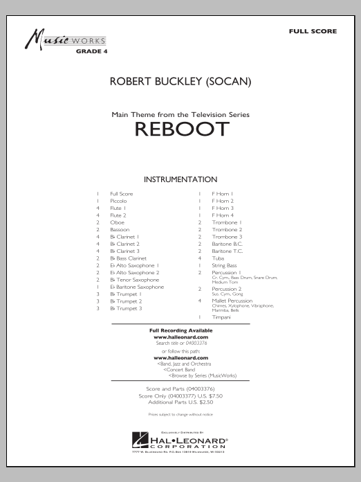Reboot (COMPLETE) sheet music for concert band by Robert Buckley