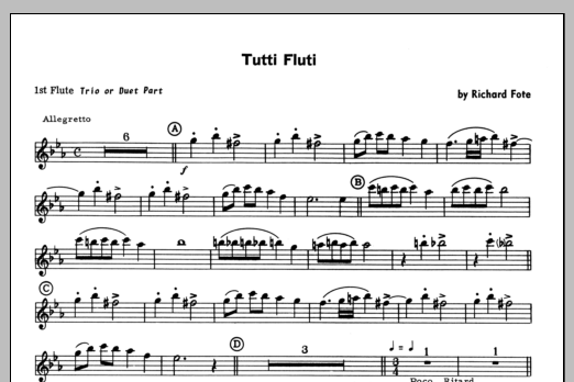 Tutti Fluti (complete set of parts) sheet music for flute quartet by Fote