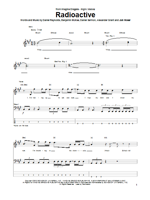 Tablature guitare Radioactive de Imagine Dragons - Tablature Basse