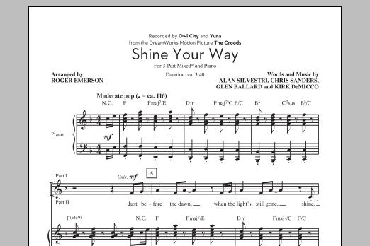 Partition chorale Shine Your Way de Owl City - 3 voix mixtes