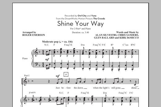 Partition chorale Shine Your Way de Owl City - 2 voix