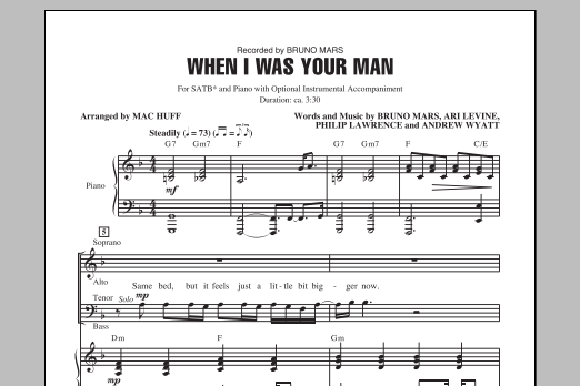 Partition chorale When I Was Your Man de Bruno Mars - SATB