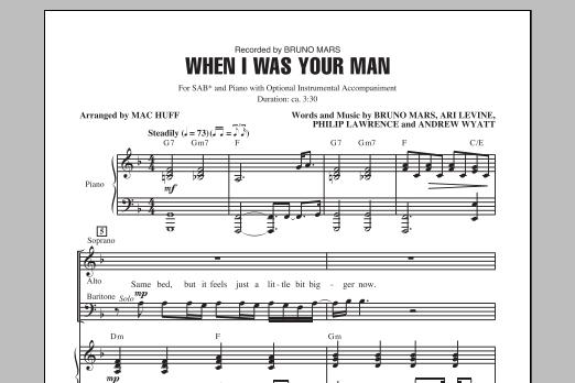 Partition chorale When I Was Your Man de Bruno Mars - SAB