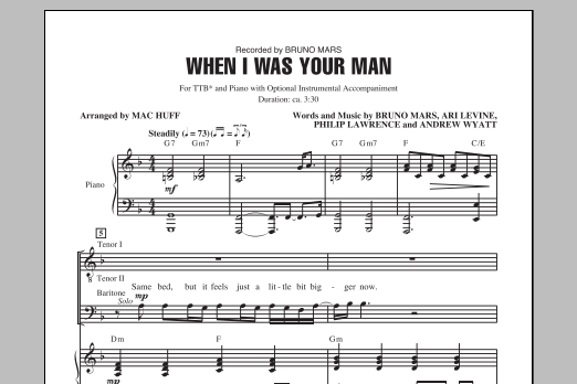 partition piano when i was your man pdf