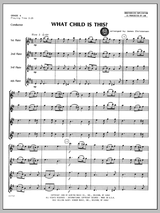 What Child Is This? (COMPLETE) sheet music for flute quartet by Christensen