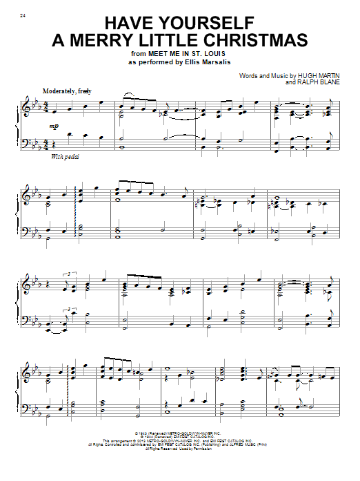 Have Yourself A Merry Little Christmas sheet music for piano solo by Ralph Blane