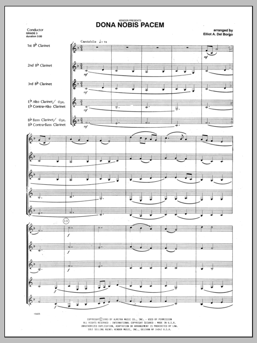 Dona Nobis Pacem (COMPLETE) sheet music for clarinet quintet by Del Borgo