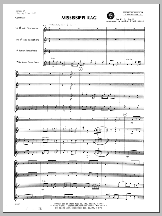 Mississippi Rag (COMPLETE) sheet music for saxophone quartet by Arthur Frackenpohl