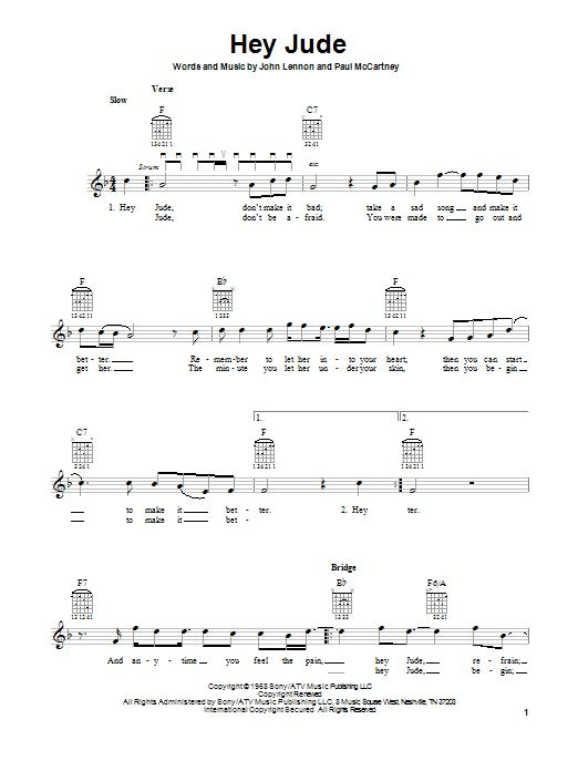 Tablature guitare Hey Jude de The Beatles - Tablature guitare facile