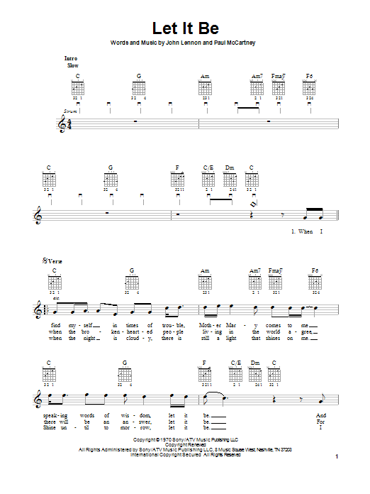 Tablature guitare Let It Be de The Beatles - Tablature guitare facile