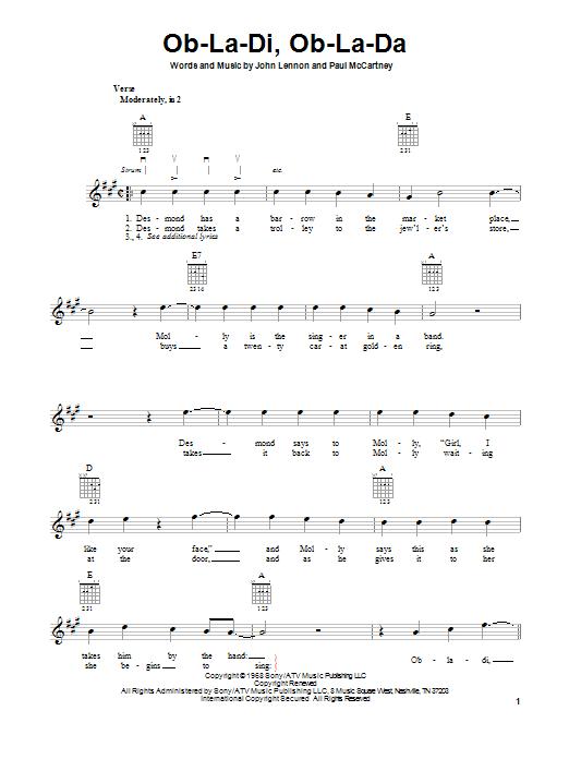 Tablature guitare Ob-La-Di, Ob-La-Da de The Beatles - Tablature guitare facile